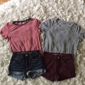 American Eagle Bundle 2 size 00 shorts & 2 Shirts